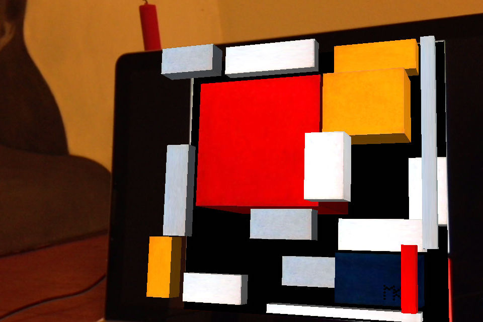 HMondrian Composition with Large Red Plane, Yellow, Grey and Blue